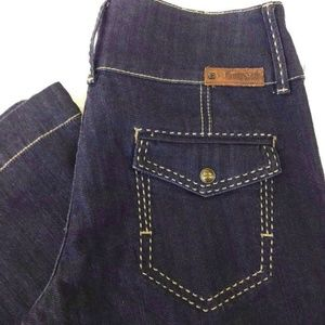 BCBGMaxAzria Jeans Dark Big Stich Wide 27 x 31.5